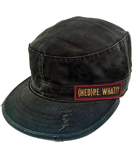 (HED)P.E. vintage fatigue hockey cap in black with 'What' patch