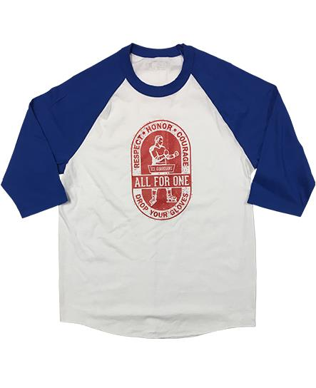 ICE GUARDIANS 'ALL FOR ONE' hockey raglan in white/royal