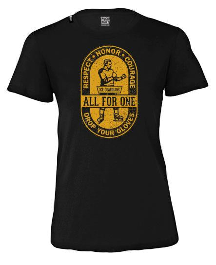 ICE GUARDIANS 'ALL FOR ONE' women's short sleeve hockey t-shirt in black