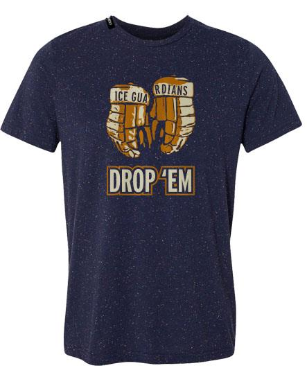 ICE GUARDIANS 'DROP 'EM' short sleeve hockey t-shirt in navy