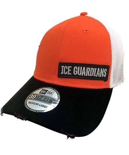 ICE GUARDIANS 'PHILLY CHEESE STEAK' vintage mesh hockey cap in orange, black, and white