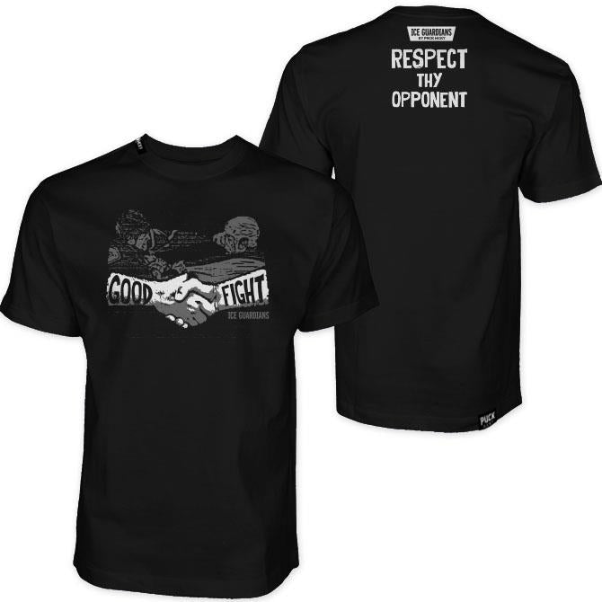 ICE GUARDIANS 'RESPECT THY OPPONENT' short sleeve hockey t-shirt in black front and back view