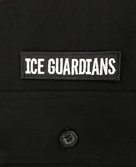 ICE GUARDIANS 'STAND GUARD' hockey flannel in solid black patch close-up