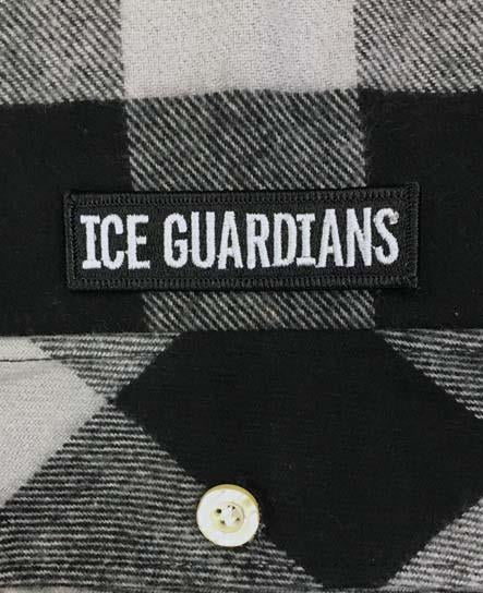 ICE GUARDIANS 'STAND GUARD' hockey flannel in grey plaid patch close-up