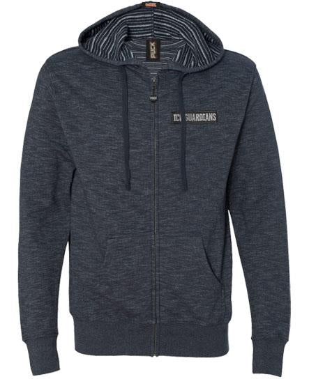 ICE GUARDIANS 'STAND GUARD' zip hockey hoodie in charcoal heather