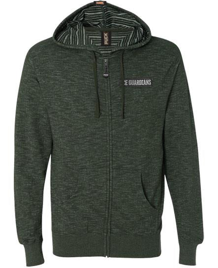 ICE GUARDIANS 'STAND GUARD' zip hockey hoodie in moss green