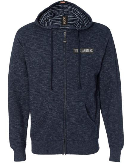 ICE GUARDIANS 'STAND GUARD' zip hockey hoodie in navy heather