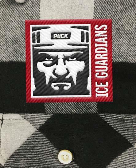 ICE GUARDIANS 'THE SHINING' hockey flannel in grey plaid patch close up