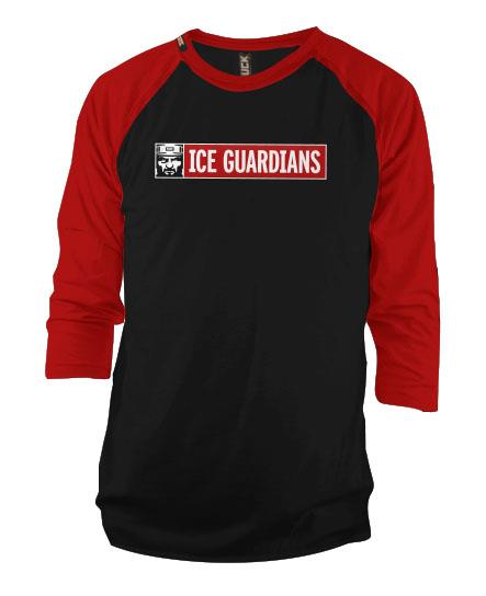 ICE GUARDIANS 'THE SHINING' hockey raglan t-shirt in black/red