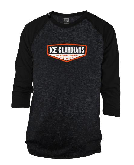 ICE GUARDIANS 'ULTIMATE TEAMMATE' hockey raglan t-shirt in black marble/black