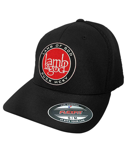 LAMB OF GOD 'ENGAGE THE PUCK MACHINE' mesh back hockey cap in black