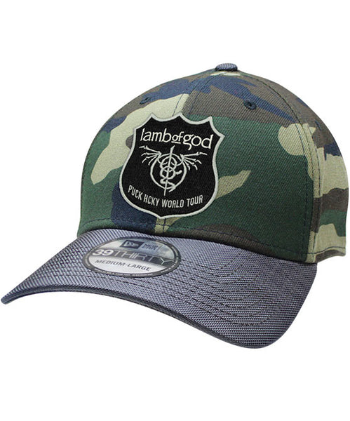 LAMB OF GOD 'NEW COLOSSAL SKATE' stretch fit hockey cap in camo with charcoal brim