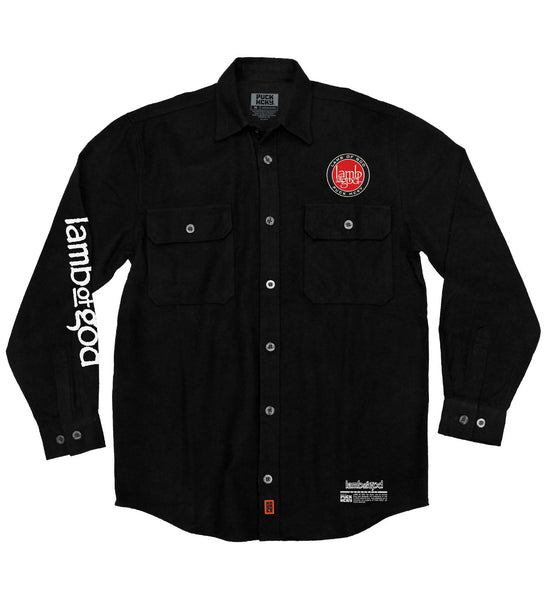 LAMB OF GOD 'SKATE MESSIAH' hockey flannel in solid black front view