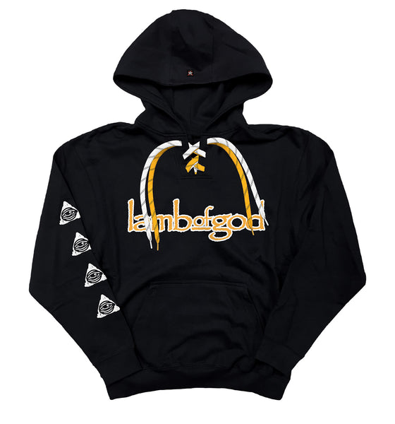 LAMB OF GOD 'SKATE MESSIAH' laced pullover hockey hoodie in black with gold and and white laces with black stripes front view