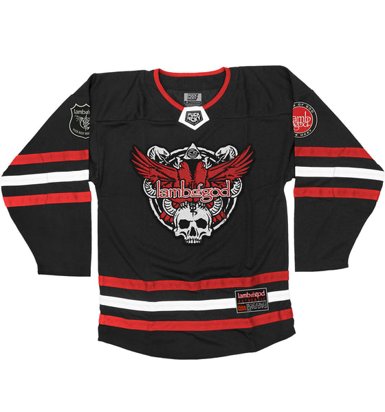 LAMB OF GOD 'SLASHES OF THE WAKE' hockey jersey in black, red, and white front view