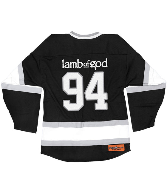LAMB OF GOD 'SLASHES OF THE WAKE' hockey jersey in black, white, and grey back view