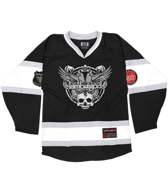 LAMB OF GOD 'SLASHES OF THE WAKE' hockey jersey in black, white, and grey front view