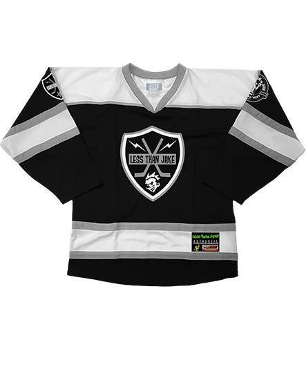 LESS THAN JAKE 'BOLT BADGE' hockey jersey in black, white, and grey front view