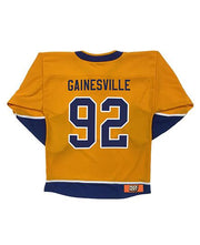 LESS THAN JAKE 'BOLT BADGE' hockey jersey in gold, navy, and white back view