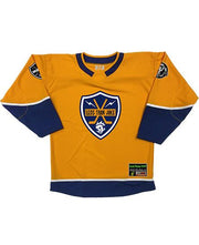 LESS THAN JAKE 'BOLT BADGE' hockey jersey in gold, navy, and white front view