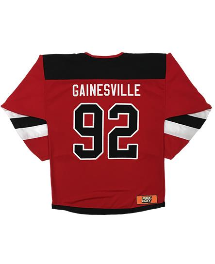 LESS THAN JAKE 'BOLT BADGE' hockey jersey in red, black, and white back view