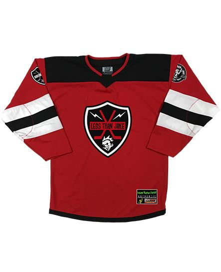LESS THAN JAKE 'BOLT BADGE' hockey jersey in red, black, and white front view
