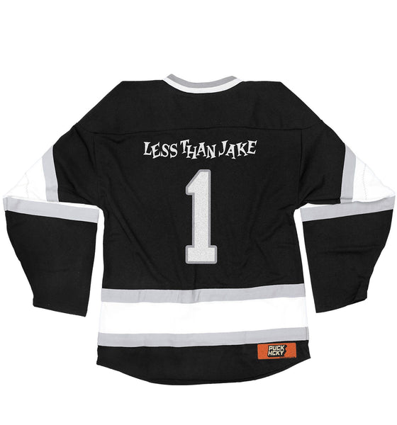 LESS THAN JAKE 'HOCKEY ANTHEM' hockey jersey in black, white, and grey back view