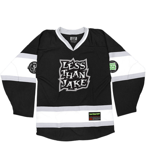 LESS THAN JAKE 'HOCKEY ANTHEM' hockey jersey in black, white, and grey front view