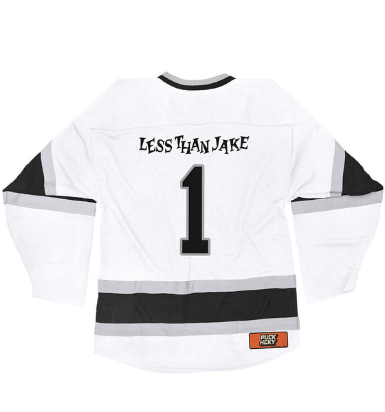 LESS THAN JAKE 'HOCKEY ANTHEM' hockey jersey in white, black, and grey back view