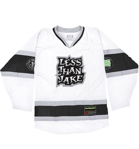 LESS THAN JAKE 'HOCKEY ANTHEM' hockey jersey in white, black, and grey front view