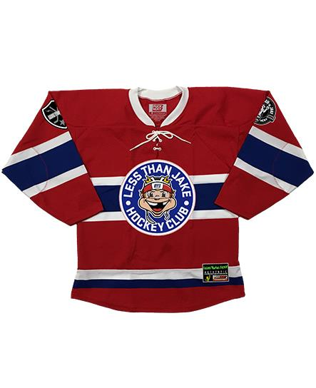 LESS THAN JAKE 'HOCKEY CLUB' hockey jersey in red, royal, and white front view
