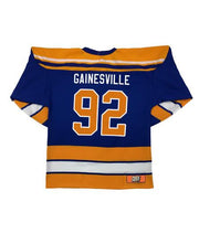 LESS THAN JAKE 'HOCKEY CLUB' hockey jersey in royal, gold, and white back view