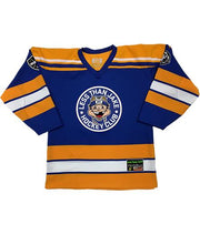 LESS THAN JAKE 'HOCKEY CLUB' hockey jersey in royal, gold, and white front view