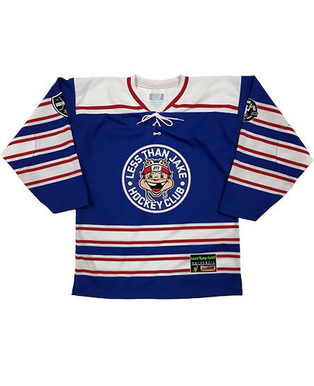 LESS THAN JAKE 'HOCKEY CLUB' hockey jersey in royal, white, and red front view