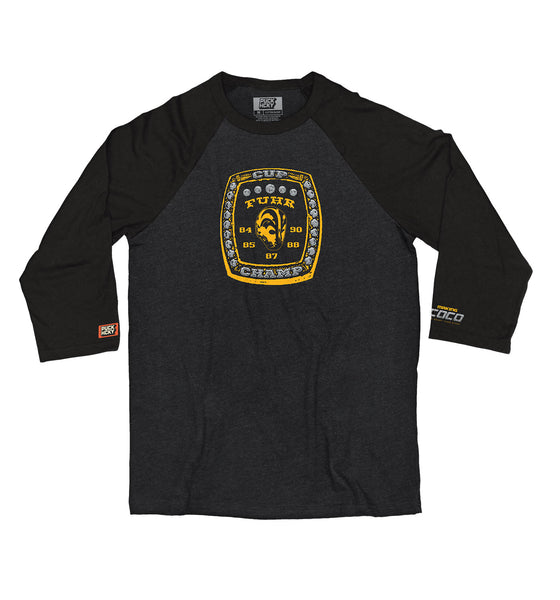 MAKING COCO 'FIVE TIMES' hockey raglan in black heather with black sleeves