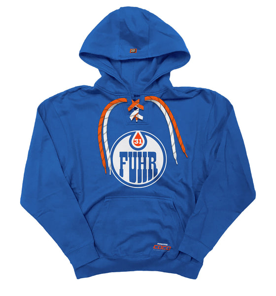 MAKING COCO 'FUHR' laced pullover hockey hoodie in royal with orange and white laces with black stripes