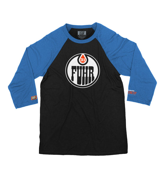 MAKING COCO 'FUHR' hockey raglan in black with royal sleeves