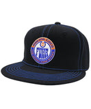MAKING COCO 'FUHR' contrast stitch snapback hockey cap in black with blue stitching
