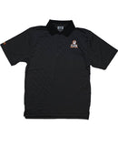 MAKING COCO 'ICON' hockey performance polo in black and charcoal stripes with black collar