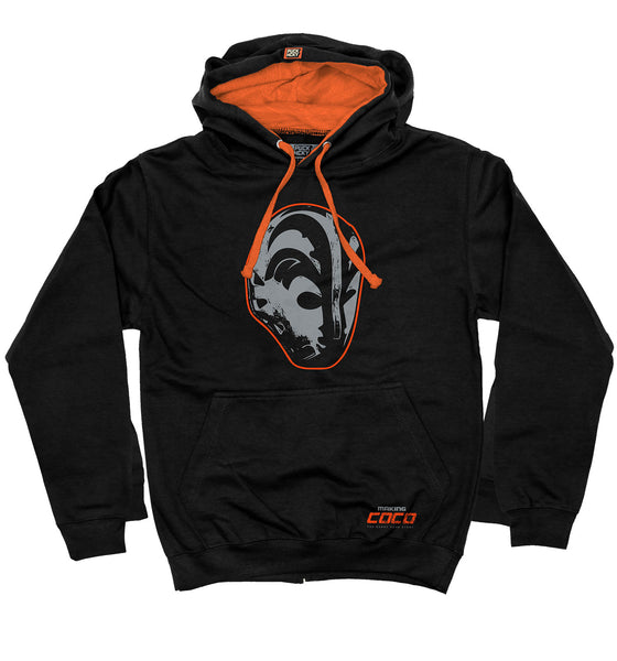 MAKING COCO 'THE MASK' pullover colorblock hockey hoodie in black and orange