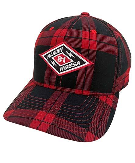 MARIAN HOSSA 'DIAMOND' flex fit hockey cap in red and black plaid