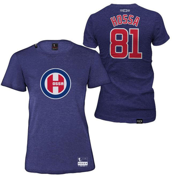 MARIAN HOSSA 'NORTHSIDE' women's short sleeve hockey t-shirt in vintage navy front and back view