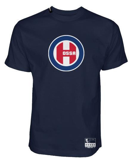 MARIAN HOSSA 'NORTHSIDE' short sleeve hockey t-shirt in midnight navy front view