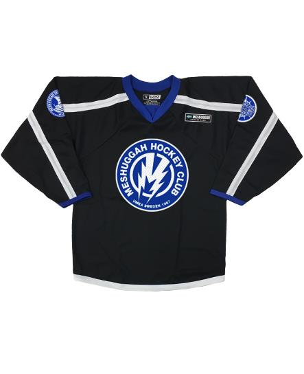 MESHUGGAH 'BOLT' hockey jersey in black, white, and royal front view