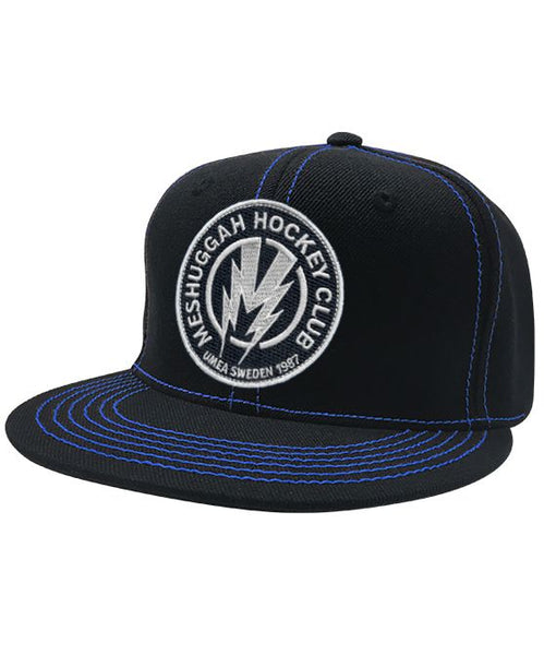 MESHUGGAH 'BOLT' contrast stitch snapback hockey cap in black with blue stitching