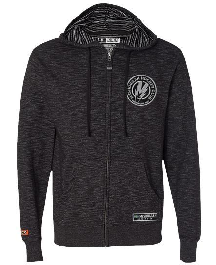 MESHUGGAH 'BOLT' full zip hockey hoodie in baja black