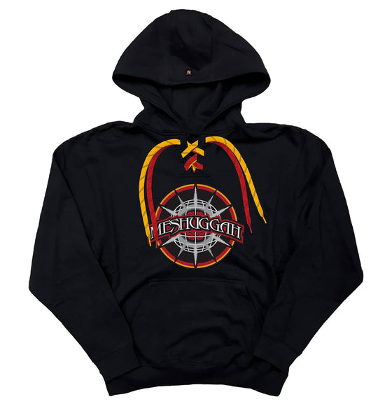 MESHUGGAH 'CHAOSPHERE' pullover hockey hoodie in black with red and gold laces with black stripes