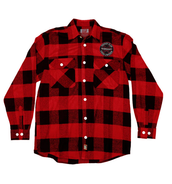 MESHUGGAH 'HOCKEY KLUBB' hockey flannel in red plaid