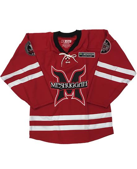 MESHUGGAH 'HOCKEY KLUBB' hockey jersey in red and white front view
