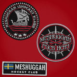 MESHUGGAH 'HOCKEY KLUBB' hockey jersey in red and white patches close-up